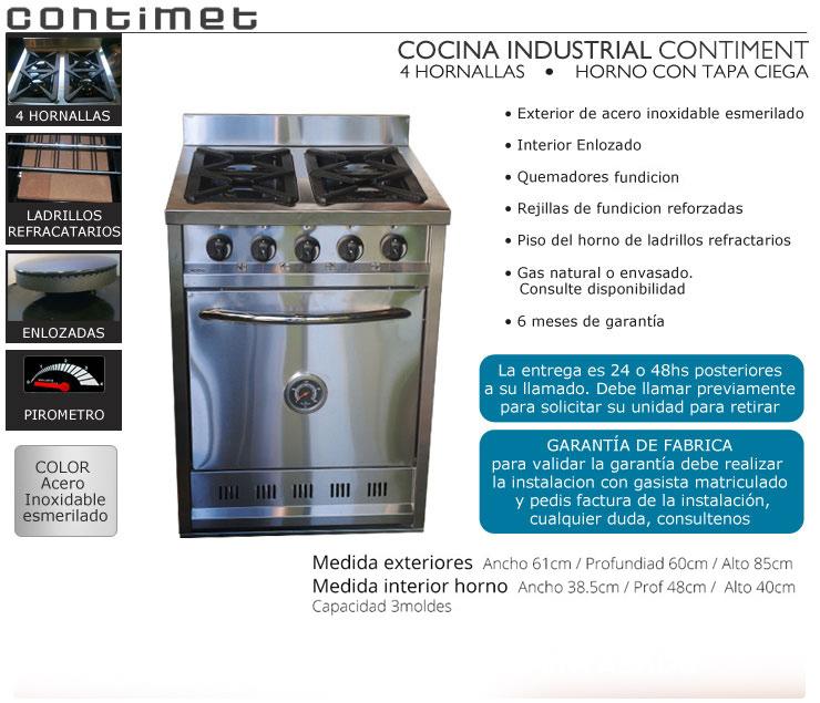 Cocina industrial contimet 4h tapa ciega acero inox 60 cm for Valor cocina industrial