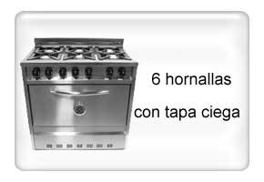 Cocina industrial contimet 4h tapa visor acero inox 60 cm for Cocina 6 hornallas