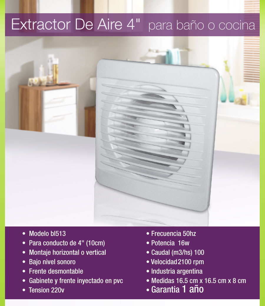 Extractor de aire para ba o cocina 4 10 cm pared o vidrio - Extractor aire cocina ...