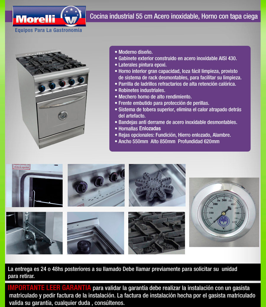 Cocina industrial morelli 55 cm tapa aceroinox quem for Manual de cocina industrial
